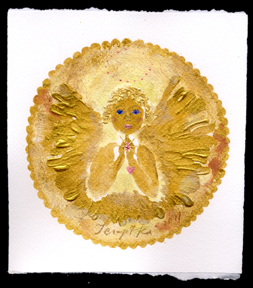 petite golden prayer circle floral